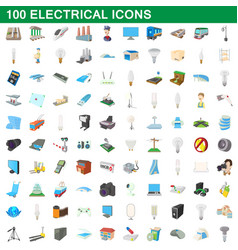100 electrical icons set cartoon style vector image