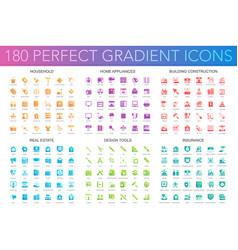 180 trendy perfect gradient icons set vector image