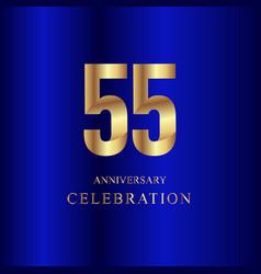 55 year anniversary celebration gold blue vector