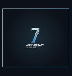 7 years anniversary logotype with cross hatch vector