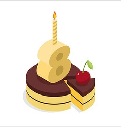 8 years old birthday cake isometrics Figure eight vector image