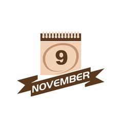 9 november calendar with ribbon vector