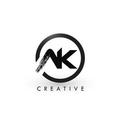 ak brush letter logo design creative brushed vector image