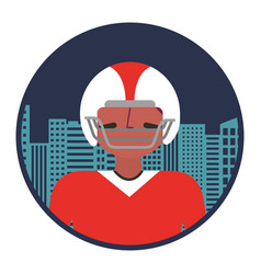 American football player with cityscape vector
