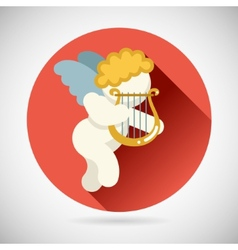 angel cherub symbol baboy with harp lira icon vector image