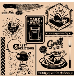 background with fast food symbols vector image