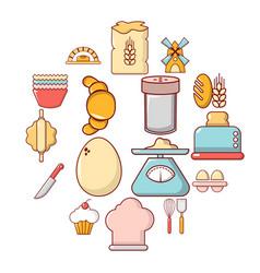 Bakery icons set cartoon style vector