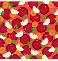 beet slices cut round carrot and pieces of apple vector image