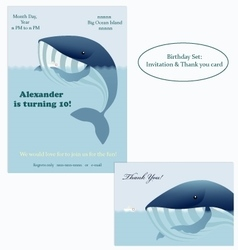 Big whale and little ship Birthday Invitation vector image