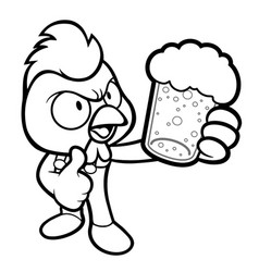 black and white chicken mascot drinks the best vector image