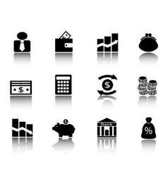 Black financial icons vector image