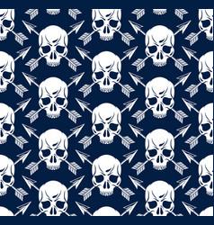Black skulls seamless background endless pattern vector