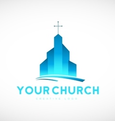 Blue church christian cross logo icon design vector