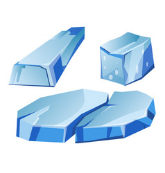 Blue transparent uneven glaciers pieces isolated vector