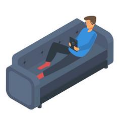 boy freelancer at sofa icon isometric style vector image