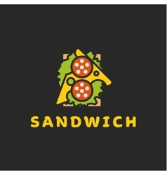 Bread and butter Tasty Sandwich Logo flat design vector