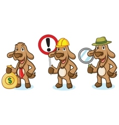 Brown Goat Mascot with sign vector image