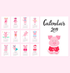 calendar for 2019 from sunday to saturday cute vector image