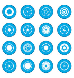 Camera shutter icon blue vector