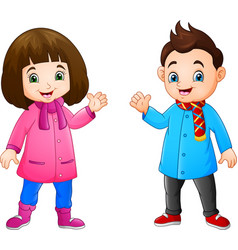 cartoon little girl and boy wearing winter clothes vector image