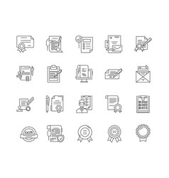 certificates line icons signs set vector image
