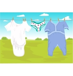 Clothes drying outdoor in the garden vector