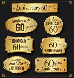 Collection of anniversary retro gold labels 60 vector