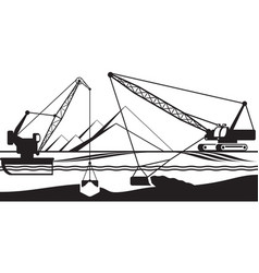 Cranes extracting sand from bottom of river vector