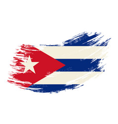 Cuban flag grunge brush background vector
