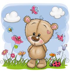 Cute cartoon teddy bear on a meadow vector
