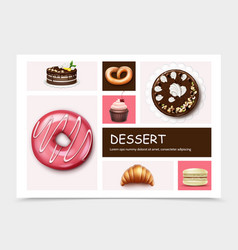 desserts and cakes infographic template vector image