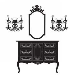 Dressing Table and mirror Frame and wall lamps vector