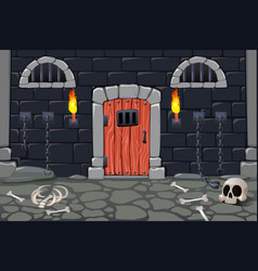 Dungeon doors cartoon composition vector