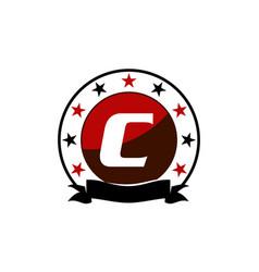 Emblem star ribbon circle initial c vector