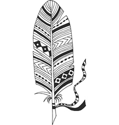 Ethnic feather with tape vector image