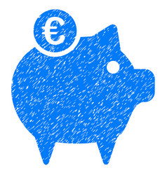 Euro piggy bank icon grunge watermark vector