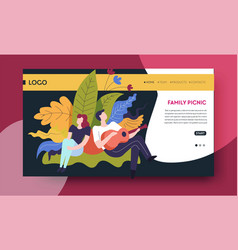Family picnic online web page template man and vector