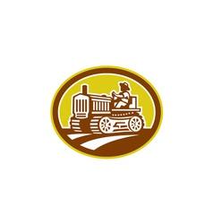 Farmer Drive Vintage Tractor Oval Retro vector image