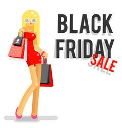 fashionable girl black friday sale shopping bag vector image