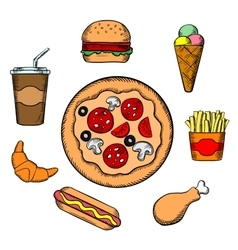 Fast food and snacks icons vector