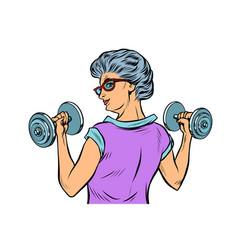 Fitness dumbbells sport activity woman grandmother vector