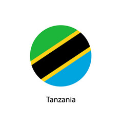 flag of tanzania in the form of a circle and vector image