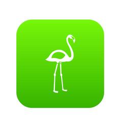 flamingo icon digital green vector image