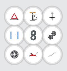 Flat icon service set of coupler muffler brake vector