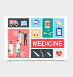 flat medicine elements composition vector image