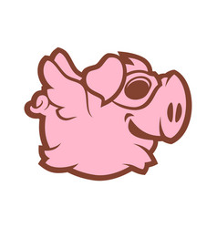 flying pig character vector image
