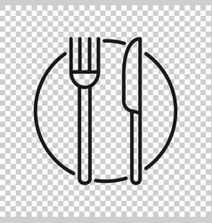fork knife and plate icon in transparent style vector image