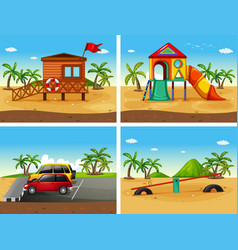 Four beach scenes with different playground and vector