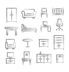 furniture doodle icons vector image