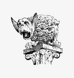 gargoyle chimera of notre-dame de paris engraved vector image